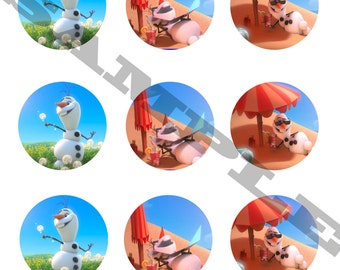 Frozen Olaf Cupcake Toppers DIY Instant Download