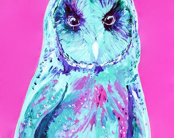 Pink and Teal Owl Fine Art Print-for, for him