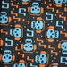 Skulls With Music Headphones Flannel Fabric -BTY- By The Yard 36 inches