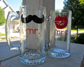 Mr. and Mrs. or His and Hers Beer Mugs with mustache and lips