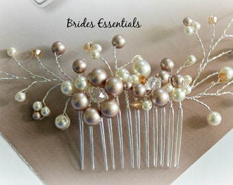 Floral Vines Comb, Ivory White Gold Bridal Hair Comb, Wedding Hair Accessories, Bridal Hair Pieces, Bridesmaid Hair Comb, Wedding Hair Comb