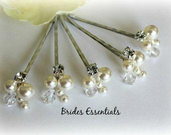 Set of 5 Bobby Clip, Wedding Hair Pins, Ivory White Pins, Bridal Hair Clips, Prom Hair Do, Beaded Pin, Swarovski Pearls, Bridesmaid Hair Pin