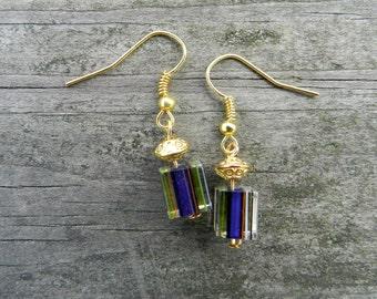 Handmade Purple and Gold Glass Bead Earrings