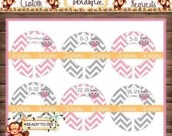 Pink & grey owls Baby Closet Dividers Nursery Closet Dividers Baby Clothes Divider Custom Closet Divider {M213}