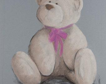 Teddy Bear pastel (chalk) painting.