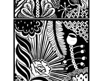 Black and white linocut print - flower pattern unique