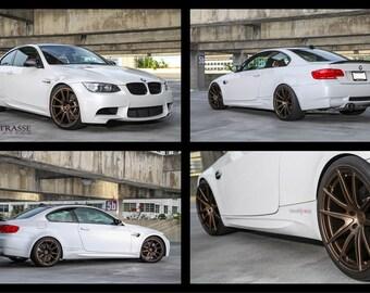 BMW E92 M3 4C Collage White on Strasse Wheels HD Poster Print