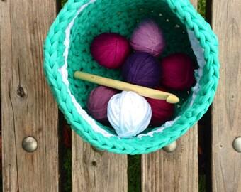 Hoooked zpagetti basket crochet turquoise