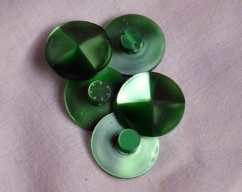 Retro Green Satin Finish 35 mm Vintage Lucite Shank Buttons - Set of 5