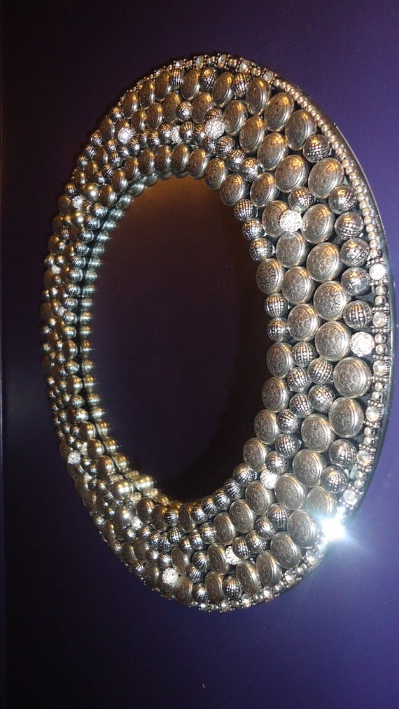 Items similar to silver style upcycled embellished mirror for Embellished mirror frame