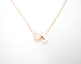 Heart and Initial Necklace, Initial Necklace, Tiny Heart Necklace, Letter Necklace, Bridesmaid Gifts, Love Necklace, Gold, Rose Gold, Silver