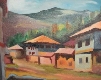 Vintage oil painting village scene