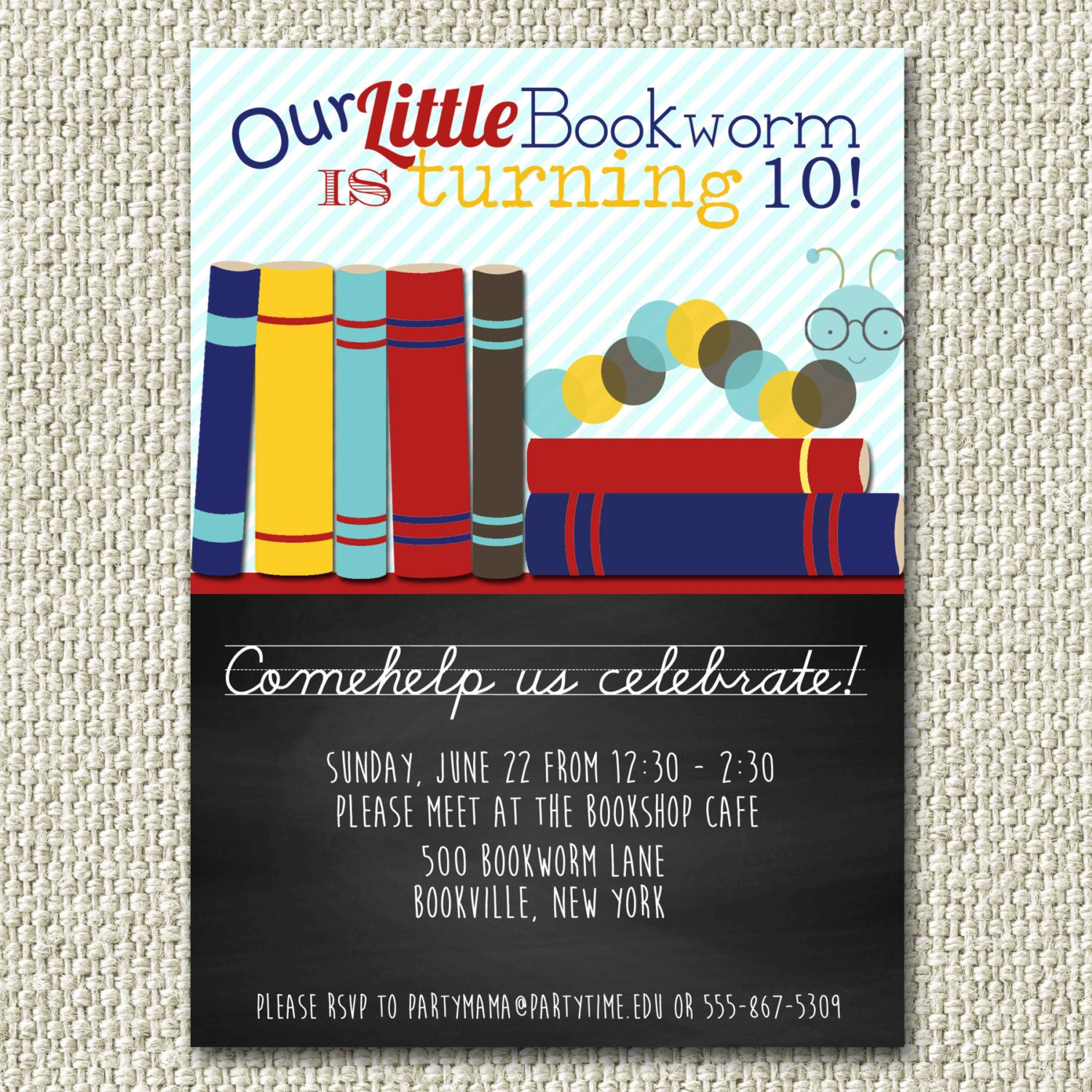 Bookworm birthday Party bookworm party invitation Reading – Book Party Invitation