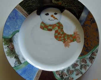 Christmas plate with decorative borders and a snowman- Hand Painted porcelain china