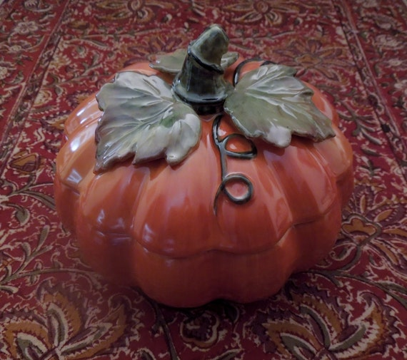 Pumpkin Candy Dish Hand Painted Pumpkin Shaped By