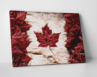 Vintage Canada Flag Gallery Wrapped Canvas Print