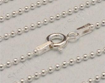 14 Inch Italian Sterling Silver 1.5mm Ball Chain, SOLID 925 Sterling, Made in Italy, Sterling Silver Bead Chain, USA Seller (CS102-14)