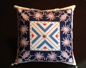 Upcycled 1930's Vintage handkerchief/ hankie  pillow cover