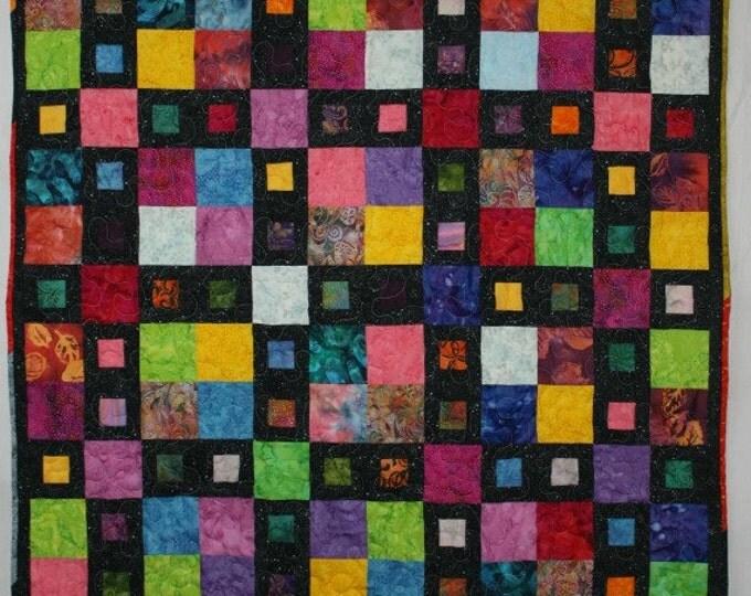Featured listing image: Batik Quilt, Modern Quilt, Multicolor Quilt, Lap Quilt, Q016 City Windows Lap Quilt