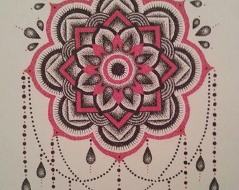 Black and Red Detailed Hand Stippled Mandala Design Print