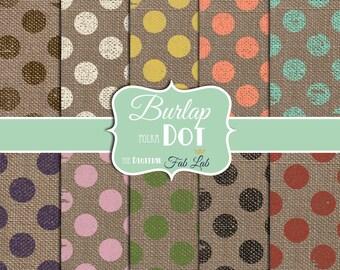 Multi-colored, Rustic, Burlap, Polka Dots, Digital Paper, 12x12, Scrapbook