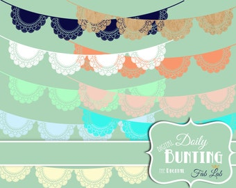 Shabby Chic, Digital, Doily Bunting,Lace, Banner, Elements, Embellishments, Digital Clipart, Scrapbook, PNG