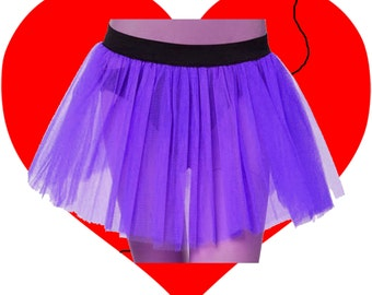 Plus Size Purple Tutu Skirt 3 Layers Length 13 to 14 Free Shipping USA Cosplay Queen Of Darkness Dance Party