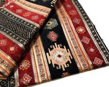 Ethnic Tribal Style Chenille Upholstery Fabric, Aztec Navajo Fabric, Geometric Design Kilim Fabric, Black  - Red, Half Yard/Meter