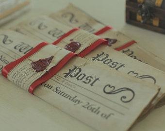 Hand aged newspaper invitation 50 units pack