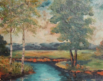 1985 Impressionist river landscape oil painting signed