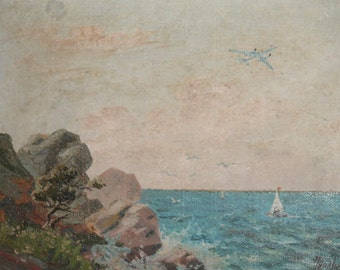 1959 Impressionist seascape oil painting signed
