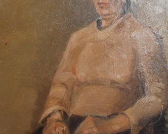 Vintage oil painting impressionist woman portrait