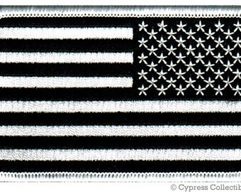 AMERICAN FLAG PATCH Reverse Black and White embroidered iron-on applique