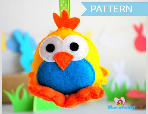 Chick Pattern, Chick Sewing Pattern, Pdf Sewing Pattern, Felt Animal Pattern, Farm Animal Plush A569