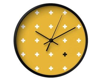Yellow wall clock Cross wall clock Yellow clock cross clock Minimal wall clock white little crosses on Yellow housewarming gift. Latte Home