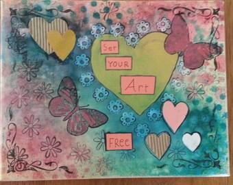 "Mixed Media Original 8 x 10 Canvas Art Collage  ""Set your Art Free"""