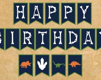 Dinosaur Birthday Banner instant download - Happy Birthday Banner - printable banner - by K&K design works