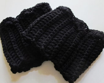 Crochet Boot Cuffs With Scallops in Black Ready to Ship