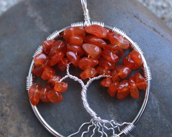 Carnelian Wire Wrapped Tree of Life Pendant