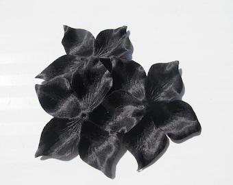 Flower black silk duchess satin shaped 120 mm