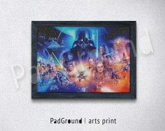 Darth Vader Poster Star Wars Art Print Canvas Print Burlap Print Home Decor Wall Decor Gift Natural Linen Print Art with Frame -STW42