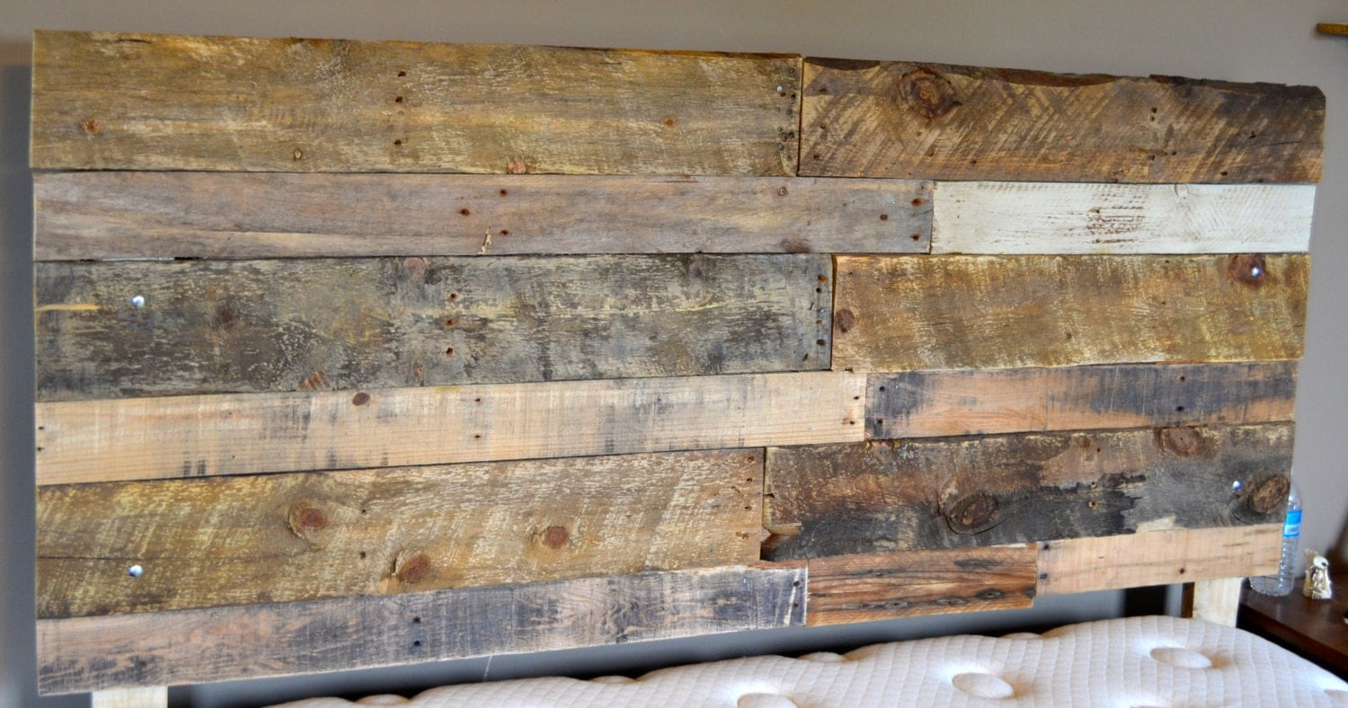 Reclaimed handmade wood headboard local by therusticcouple for Local reclaimed wood