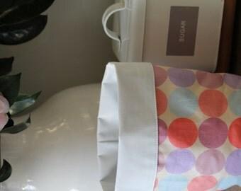 Up-cycled Pink Pastel Spot Linen Bin or Basket- Medium. Fun Bathroom Storage, Study Storage or Bedroom Organisation!