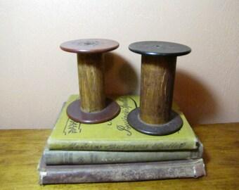 Vintage Wooden Factory Bobbins (2)