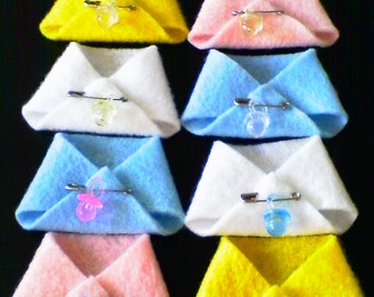 26 Mini Felt Diapers With Pacifiers To Match - Baby Shower Corsage Favors Capia Decorations - Boy, Girl, Unisex