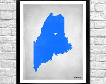 Maine State Map Personalized Art Print