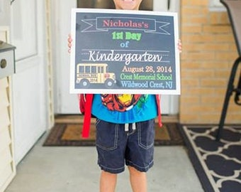 Printable 1st Day of Kindergarten, Chalkboard sign