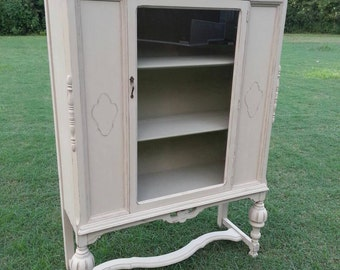 SOLD**** Antique China Cabinet in Shabby Chic Finish*****SOLD