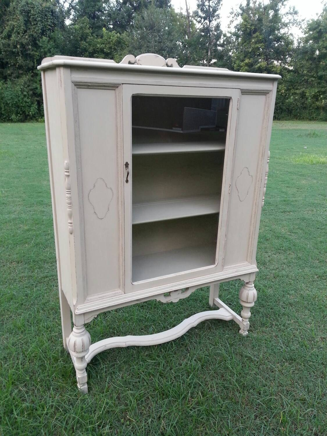 sold antique china cabinet in shabby chic finishsold. Black Bedroom Furniture Sets. Home Design Ideas