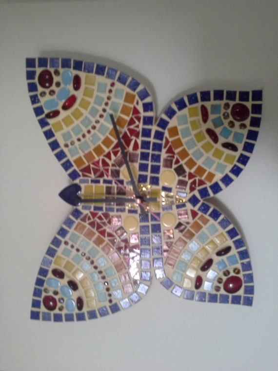 Red Mosaic Wall Decor : Items similar to mosaic wall clock home decor mix blue red